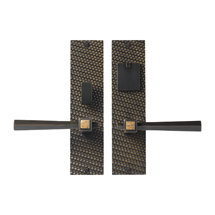 Solid Bronze Amora Royale Lever Mortise Entry Set with Jasper Panther Inlay