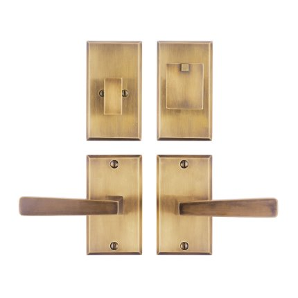 Solid Bronze Manhattan Handle Deadbolt Set