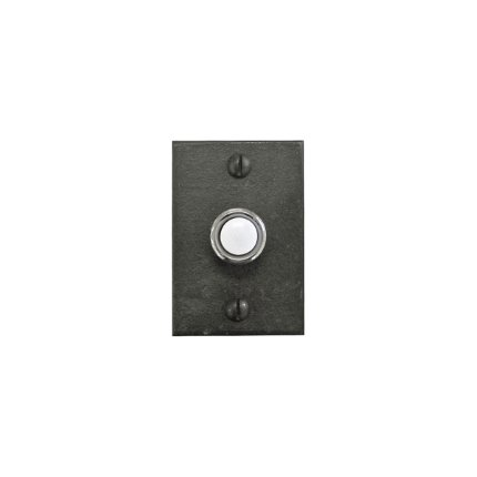 Hand Forged Iron Straight Edge Door Bell Button Escutcheon