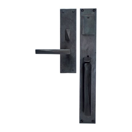 Hand Forged Iron Milan II Thumb Latch Handle Mortise Set