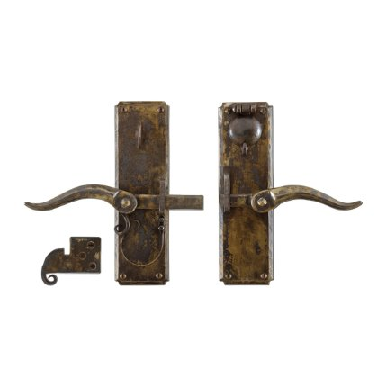 Hand Forged Iron Vertical Strike-bar Latch Deadbolt Entry Set