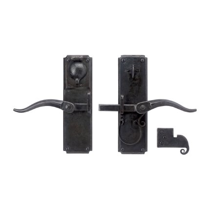 Hand Forged Iron Vertical Strike Bar Latch Deadbolt Set