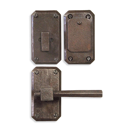 Hand Forged Iron Petite East-West Lever Deadbolt Entry Set